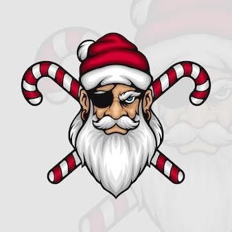 Piraten-weihnachtsmann mit zuckerstangen