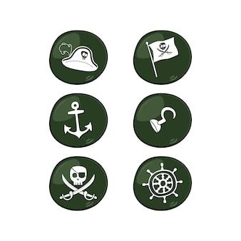 Piraten-zeichen-icon-set