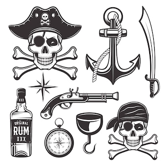 Piratenattribute setzen objekte und grafische elemente im monochromen stil