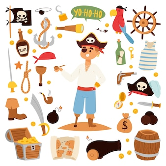 Piratencharakter mit symbolen.