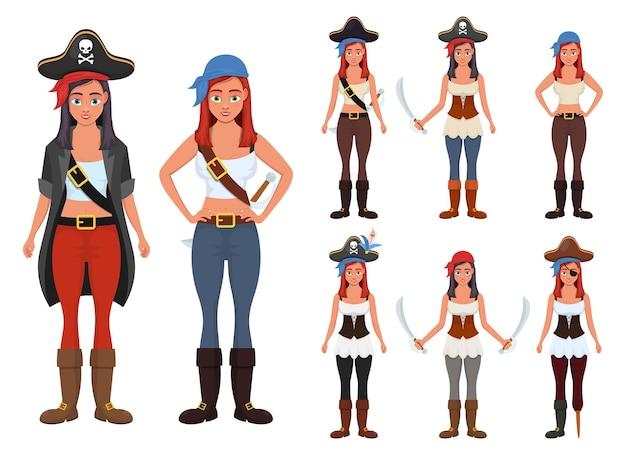 Piratenfrauenillustration lokalisiert auf weiß