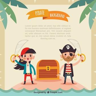 Piratenhintergrund mit schatztruhe
