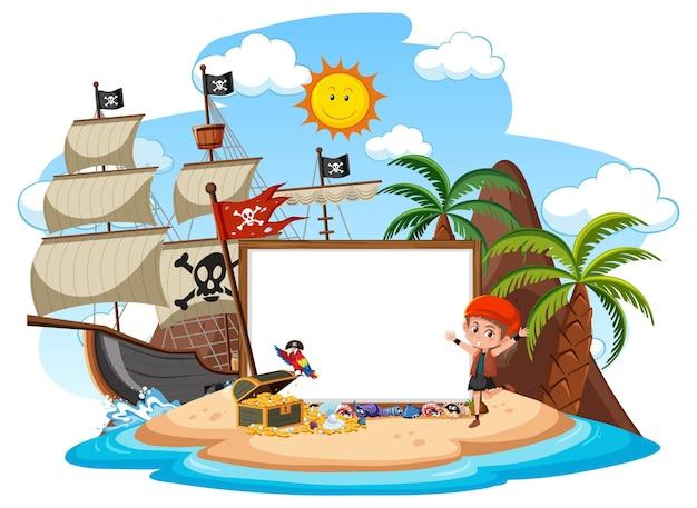 Pirateninsel mit leerer bannervorlage