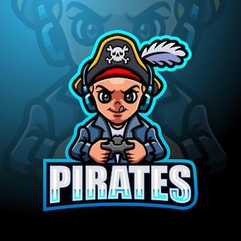 Piratenjunge esport maskottchen logo design