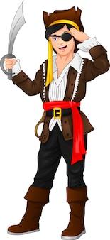 Piratenjunge posiert und hält ein schwert