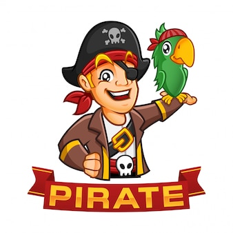 Piratenjungencharakter oder maskottchenkarikatur mit einem papagei an seinem arm, spaßillustration