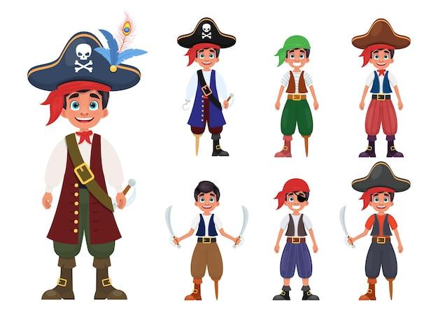 Piratenjungenillustration lokalisiert auf weiß