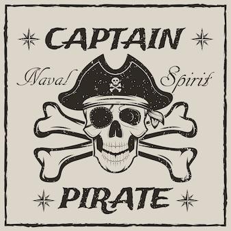 Piratenkapitän schädel und gekreuzte knochen skizzieren grunge illustration