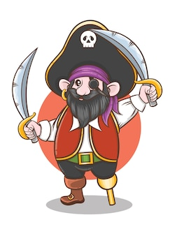 Piratenkapitän zeichentrickfigur