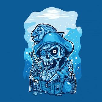 Piratenkarikatur, die schatz cest schützt