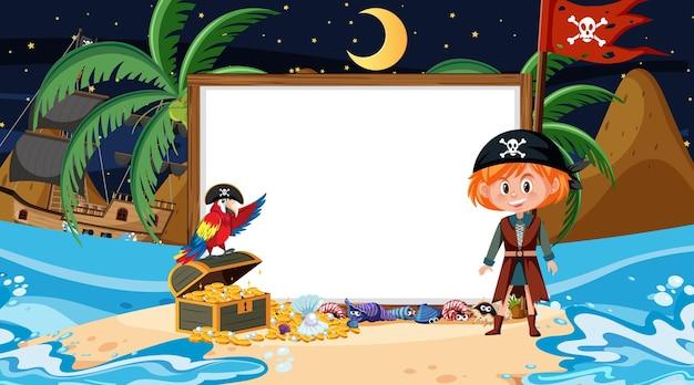 Piratenkinder an der strandnachtszene mit einer leeren bannervorlage