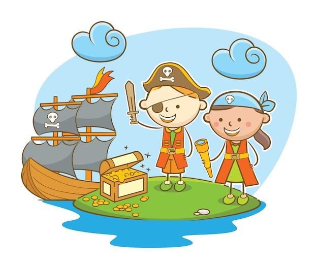 Piratenkinder, die schatz finden