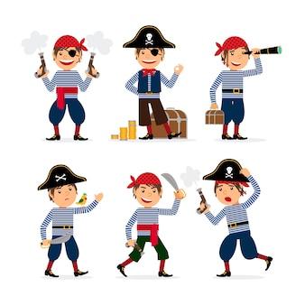 Piratenkinderjungenparty-maskeradekostüm