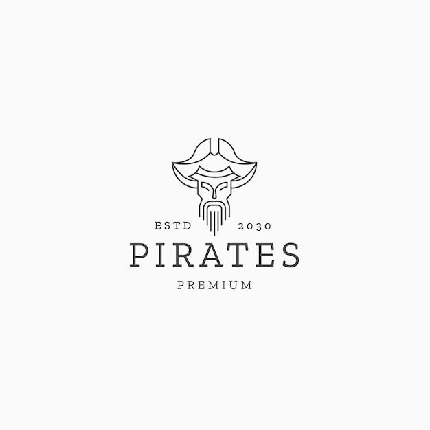 Piratenlinie kunst logo icon design vorlage flacher vektor
