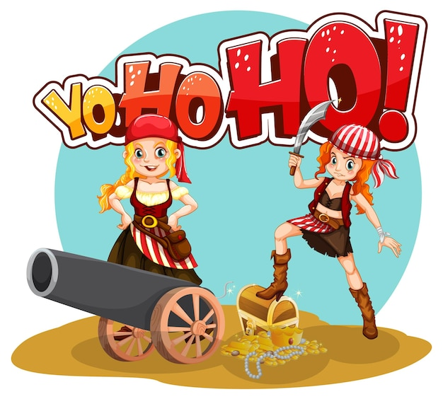 Piratenmädchen-cartoon-figur mit yo-ho-ho-rede