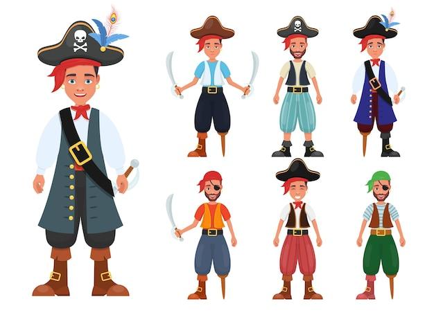 Piratenmannillustration lokalisiert auf weiß
