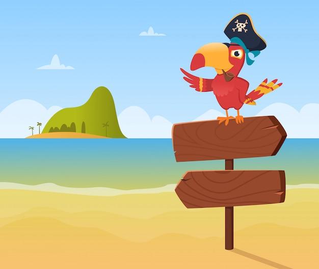 Piratenpapagei. lustiges farbiges vogel arara, das auf hölzernem zeichenrichtungshintergrund in der karikaturart sitzt