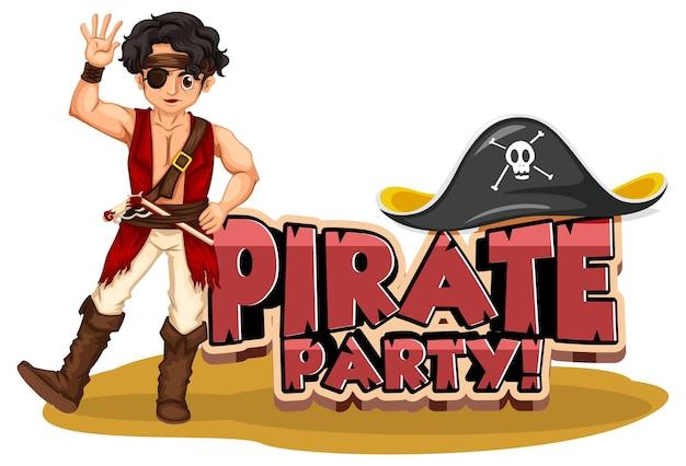 Piratenpartei-schriftartbanner mit einem piraten-mann-cartoon-charakter