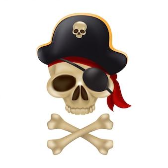 Piratenschädel mit gekreuzten knochen im kapitänshut. 3d-zeichen oder freibeuter-emblem. lustige illustration des lustigen rogers mit einem roten kopftuch und einer schwarzen augenbinde lokalisiert auf weißem hintergrund