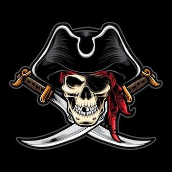 Piratenschädel mit schwert