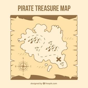 Piratenschatzkarte in braunen tönen