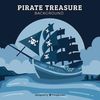 Piratenschiff hintergrund segeln in der nacht