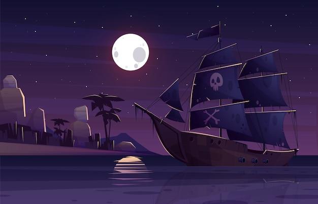 Piratenschiff oder galeone mit menschlichem schädel und gekreuzten knochen auf schwarzen segeln