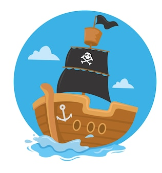Piratenschiff segeln mit schwarzer flagge