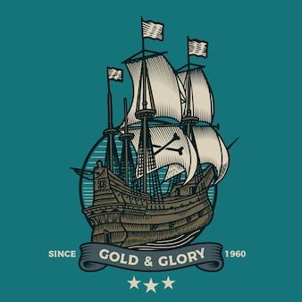Piratenschlachtschiff im gravurstil