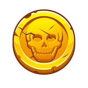 Piratenschwarze markierung oder goldmünze für das spiel. vektorillustration einer runden münze mit einem menschlichen schädel.