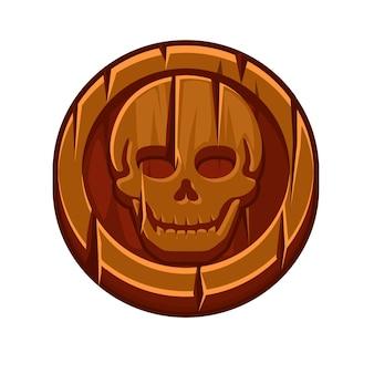 Piratenschwarze markierung oder holzmünze für spiel. vektorillustration einer runden alten münze mit einem schädel.