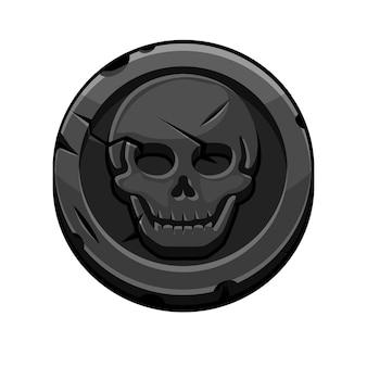 Piratenschwarze runde marke oder münze für das spiel. vektorillustration einer münze mit einem beängstigenden schädel.