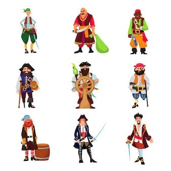 Piratenvektor piratencharakter freibeuter mann im piratenkostüm im hut mit schwertillustrationssatz