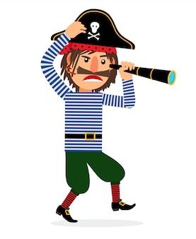 Piratenzeichentrickfilm-figur mit fernglas