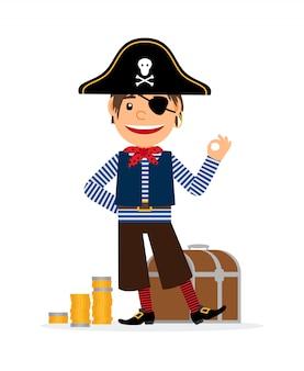 Piratenzeichentrickfilm-figur mit goldenen münzen und schatztruhe