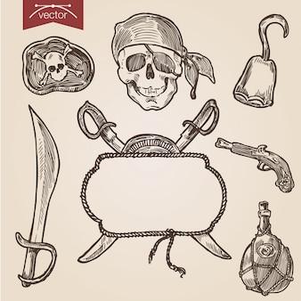 Piratenzubehör im handgezeichneten gravurstil
