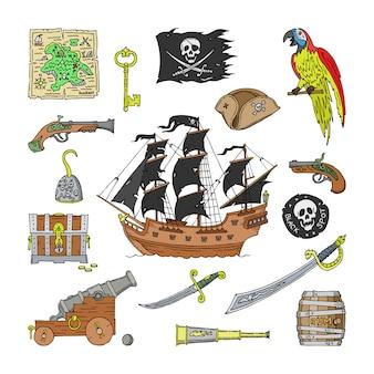 Piratisches raubkopien-segelboot und papageiencharakter des pirot- oder freibeuterillustrationssatzes des pirateriezeichenhutes oder des schwertes und des schiffs mit schwarzen segeln auf weißem hintergrund