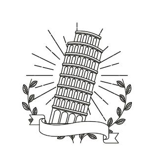 Pisa tower icon mit dekorativen kranz aus blättern und band