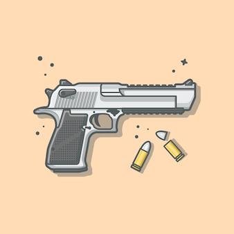 Pistole pistole mit kugeln illustration. haeadshot. waffensymbol-illustration.