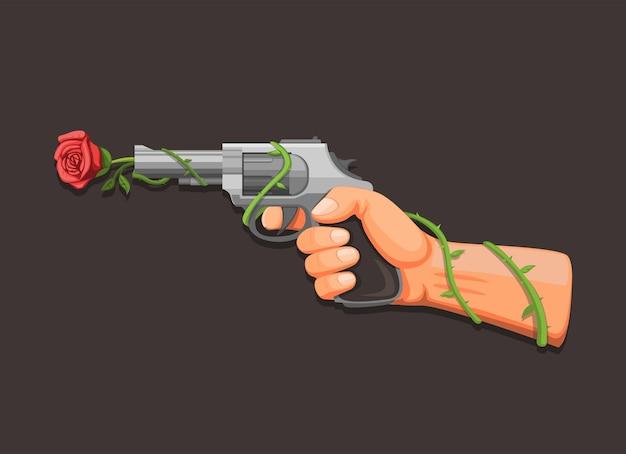 Pistolenblume, hand, die revolver mit rosensymbolkonzept im karikaturillustrationsvektor auf dunklem hintergrund hält