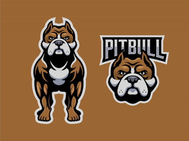 Pitbull logo maskottchen gesetzt