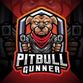 Pitbull schütze esport maskottchen logo
