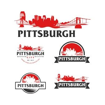 Pittsburgh usa skyline logo stadtbild und wahrzeichen silhouette vector illustration