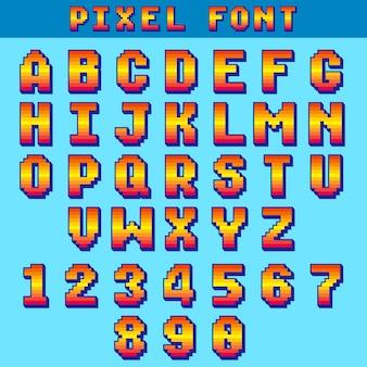 Pixel 8 bit buchstaben und zahlen vektor spiel schriftart