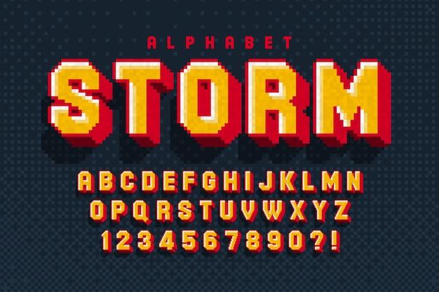 Pixel-alphabet-design, stilisiert wie in 8-bit-spielen.