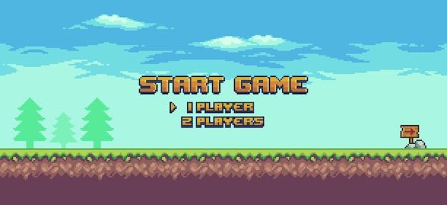 Pixel art 8-bit-spielstartbildschirm landschaftsspielhintergrund mit grasbäumen und wolken