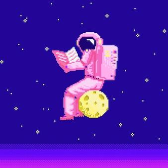 Pixel art astronaut spaceman bit