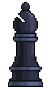 Pixel-art-bischof-schachfigur für 8-bit-spiel auf weißem hintergrund