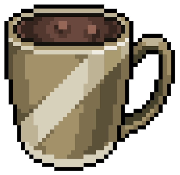 Pixel art cappuccino kaffeetasse symbol für spiel bit