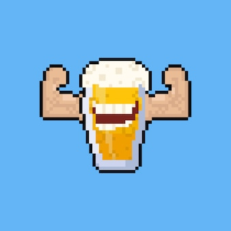 Pixel art cartoon bierkrug charakter beugen den muskel.
